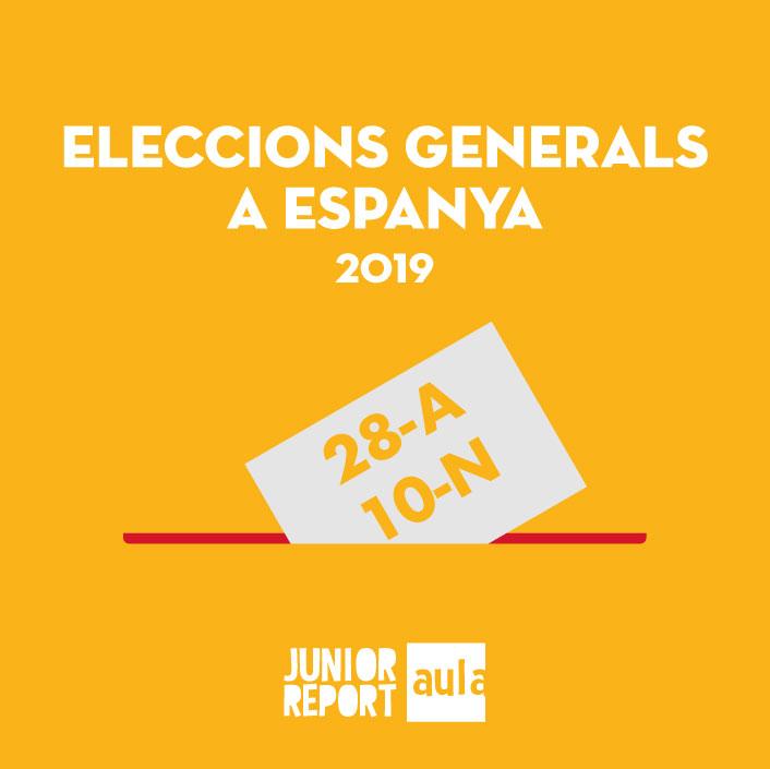 Botó per coneixer l'Unitat Didàctica Eleccions Generals a Espanyade Junior Report Aula