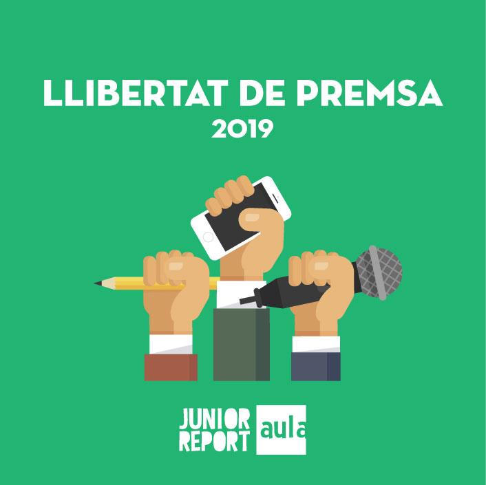 Botó per coneixer l'Unitat Didàctica Llibertat de premsa de Junior Report Aula