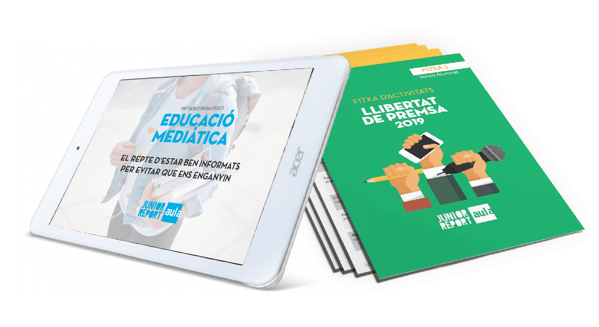 Ipad Acer con una imagen de Recursos Pedagògics Educación Mediàtica y 3 hojas con fichas de actividades Llibetat de premsa de Junior Report Aula