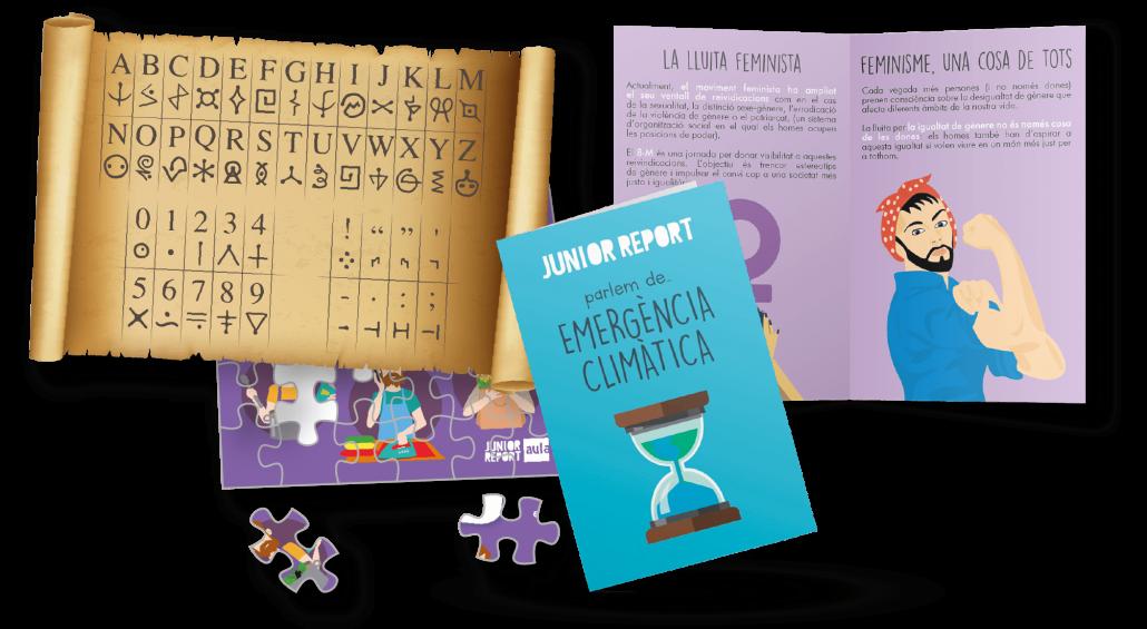 En primer plano un zine de Emergència Climàtica, detras un rompecabezas, un criptograma y un zine de igualdad de género de Junior Report