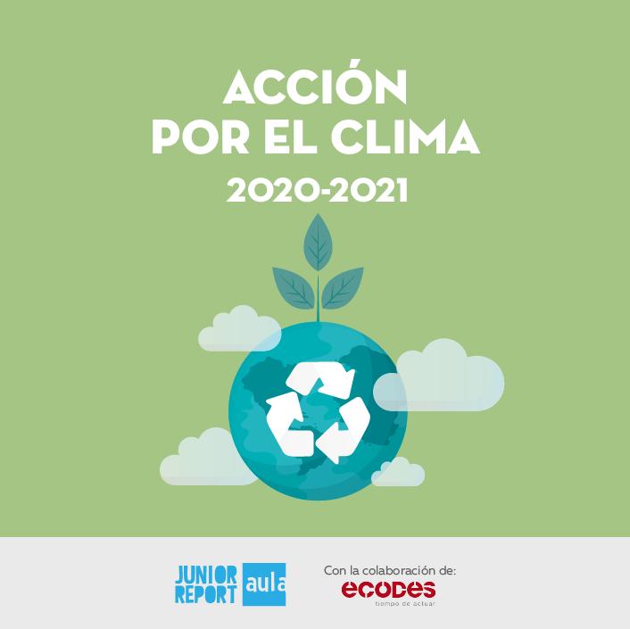 Botón para conocer la Unidad Didáctica Acción por el clima de Junior Report Aula y Ecodes