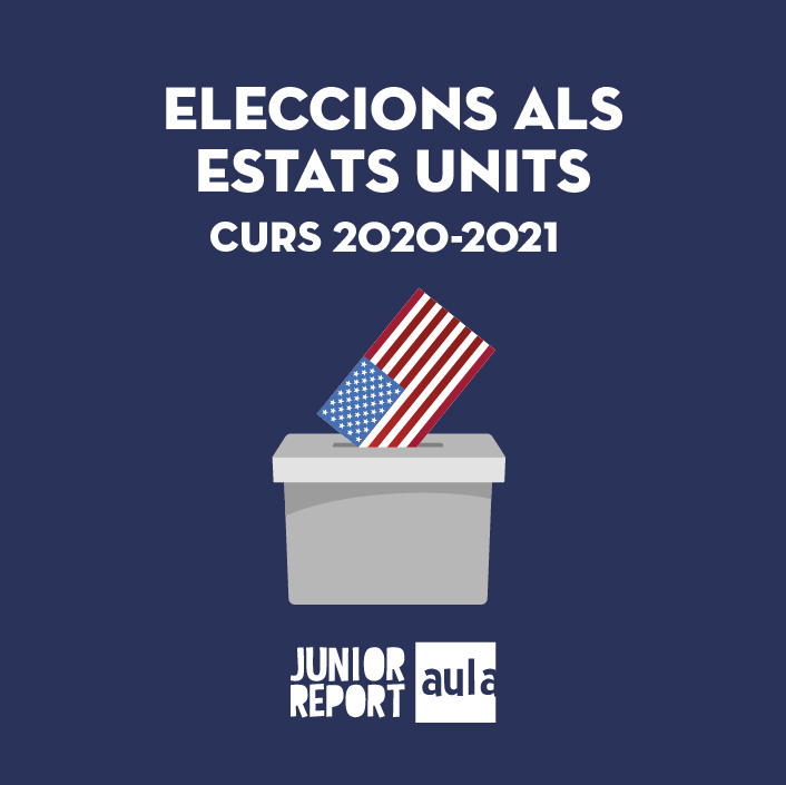 Botó per coneixer l'Unitat Didàctica Eleccions als Estats Units de Junior Report Aula