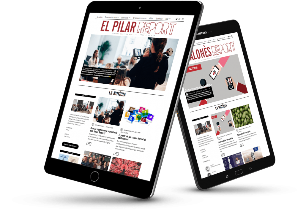 Dos ipads con la portada de El Pilar Report y Badalonès Report del proyecto Junior Report RED Revista Escolar Digital