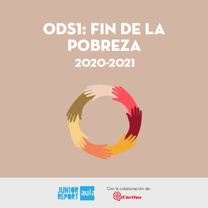 Botón para conocer la Unidad Didáctica ODS1: Fin de la pobreza de Junior Report Aula y Caritas