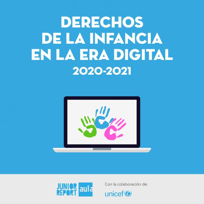 Botón para conocer la Unidad Didáctica Derechos de la Infancia en la era digital de Junior Report Aula y Unicef