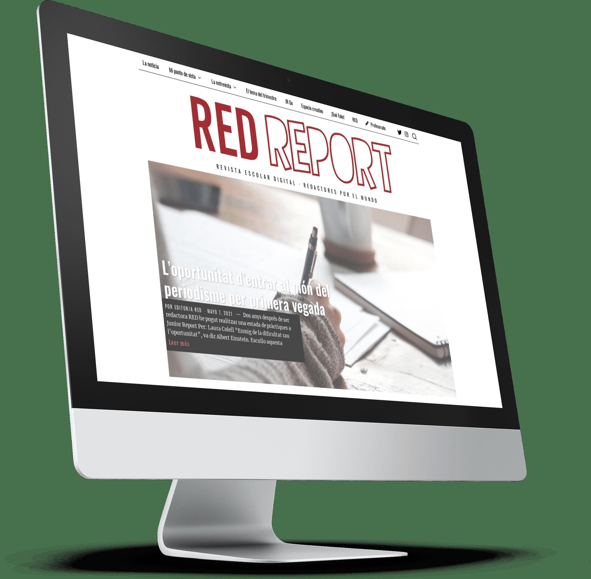 iMac con la portada de RED Report, diario escolar del proyecto Junior Report RED Revista Escolar Digital