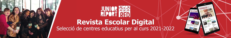 Banner per fer clic i conèixer el projecte Junior Report RED Revista Escolar Digital, Selecció de centres educatius per al curs 2021-2022
